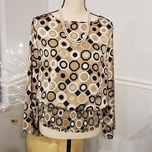 Michael Kors Blouson style top with roll up sleeve